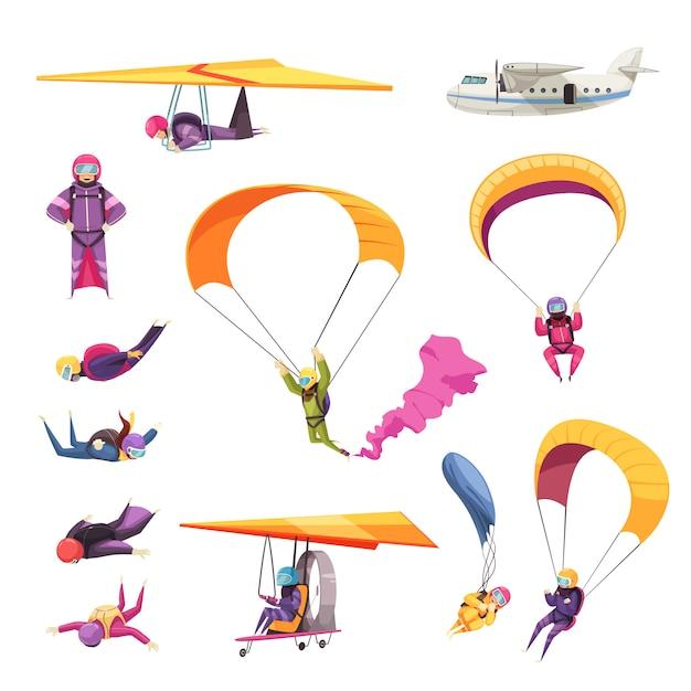 Flache ikonensammlung der extremsportelemente des fallschirmspringens mit dem flugzeugsegelflugzeug des freien falls des fallschirmsprungs lokalisiert Kostenlosen Vektoren