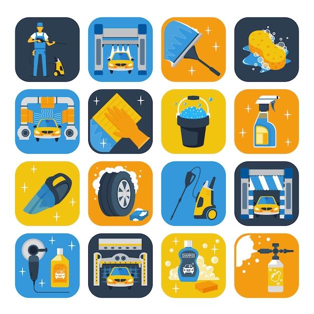 Flache ikonensammlung der waschanlage-servicesymbole mit windschutzscheibenwischer-seifenkanone Kostenlosen Vektoren
