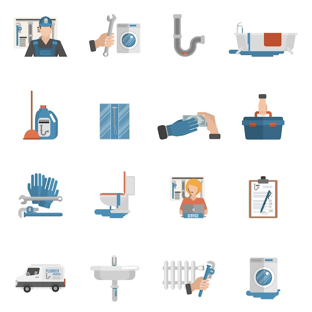 Flache ikonensammlung des klempnerservices Kostenlosen Vektoren
