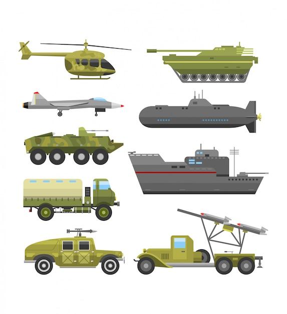 Flache illustration der militärischen technischen transportrüstung. Premium Vektoren