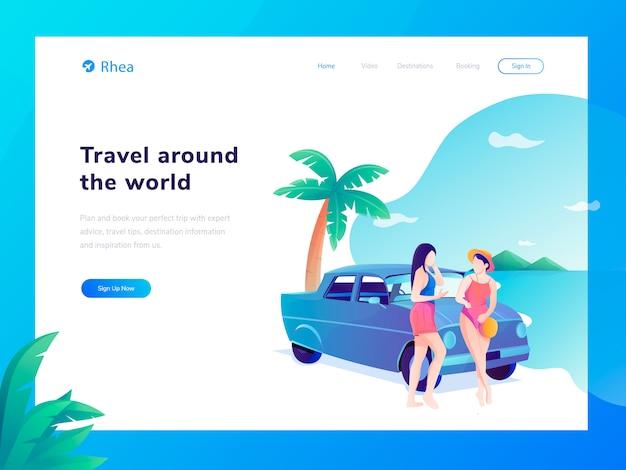 Flache illustration der reise-website Premium Vektoren