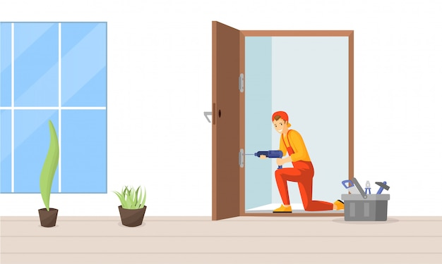 Flache illustration der tischlerfestlegungstür. passende türscharnierzeichentrickfilm-figur des berufsschlossers. junger arbeiter, erfahrener handwerker, der bohrmaschine für türrahmeninstallation verwendet Premium Vektoren