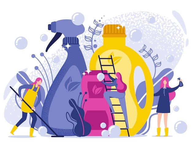 Flache illustration der wasch- und reinigungsprodukte. Premium Vektoren