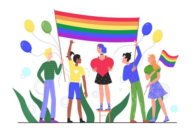 Flache illustration des lgbt-stolzparadekonzepts. karikatur glückliche junge gruppe von schwulen, lesbischen, transgender-aktivisten mit regenbogenfahne, die an der lgbtq-stolzmonatsfestfeier teilnimmt Premium Vektoren