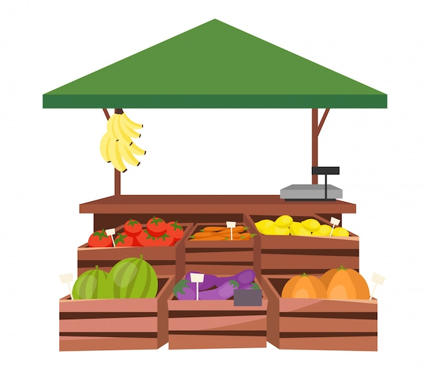 Flache illustration des obst- und gemüsemarktstalles Premium Vektoren