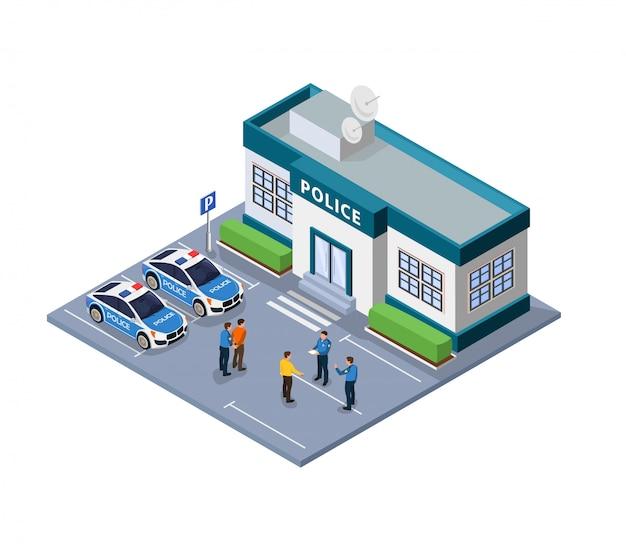 Flache illustration des polizeigewahrsams und des drahtes isometrisch. Premium Vektoren