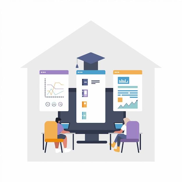 Flache illustration des remote-job-konzepts - globale auslagerung, teamarbeit. die leute arbeiten am projekt mit gemeinsam genutzten dateien - diagrammen, daten, dateien - online-cloud-filesharing-projekt. Premium Vektoren