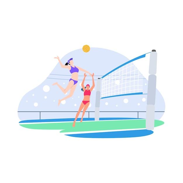Flache illustration des volleyballwettbewerbs Premium Vektoren