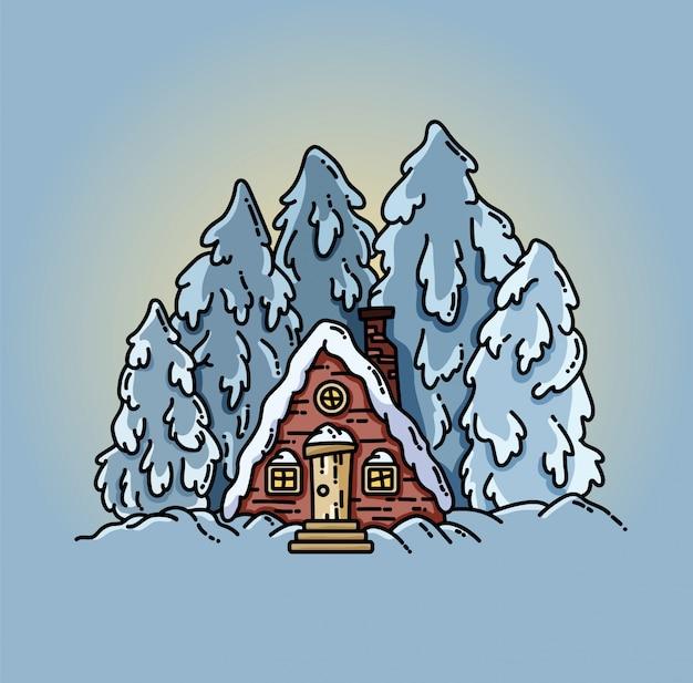 Flache illustration des winterwaldszenen-kabinenklotzes Premium Vektoren