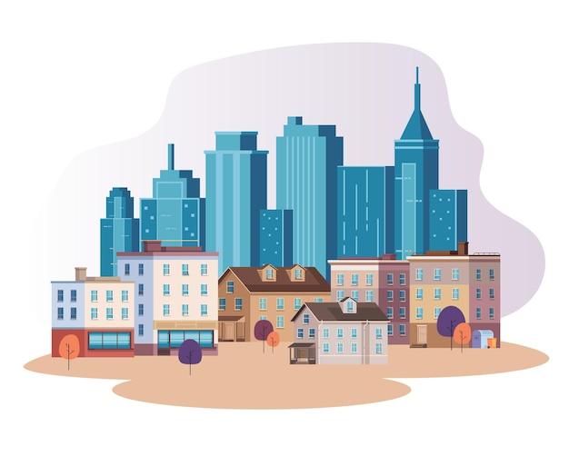 Flache illustration des wolkenkratzerkonzepts der stadtstadt Premium Vektoren