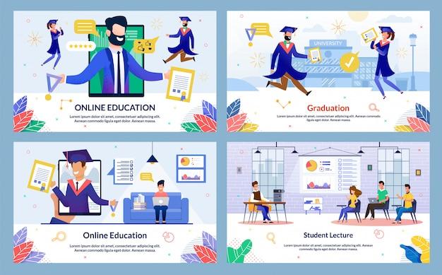 Flache illustration graduation, student lecture Premium Vektoren