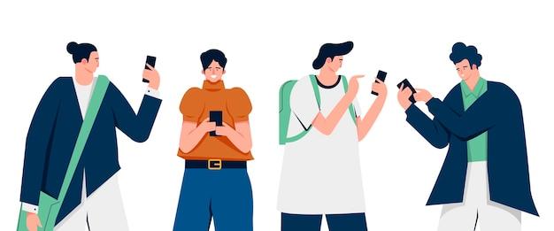 Flache illustration junger leute, die smartphones verwenden Kostenlosen Vektoren