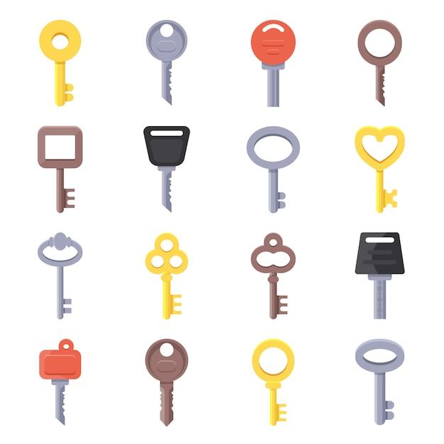 Flache illustrationen von verschiedenen arten von schlüsseln Premium Vektoren