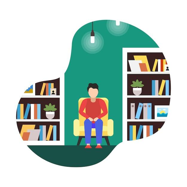 Flache illustrations-coworking-bibliothek, karikatur. Premium Vektoren