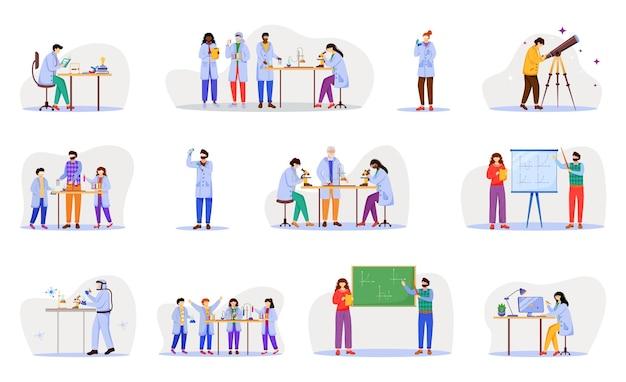Flache illustrationssatzillustration der praktischen wissenschaft Premium Vektoren