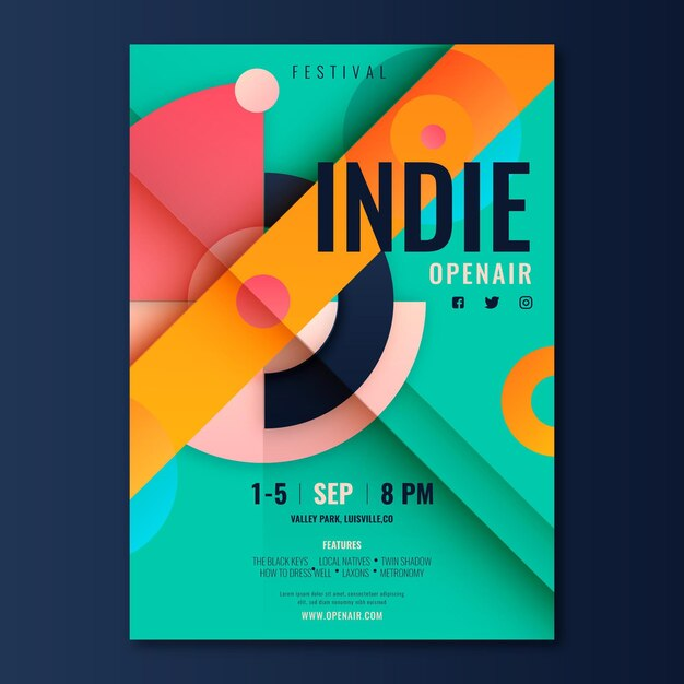 Flache indie-musikplakatschablone Kostenlosen Vektoren