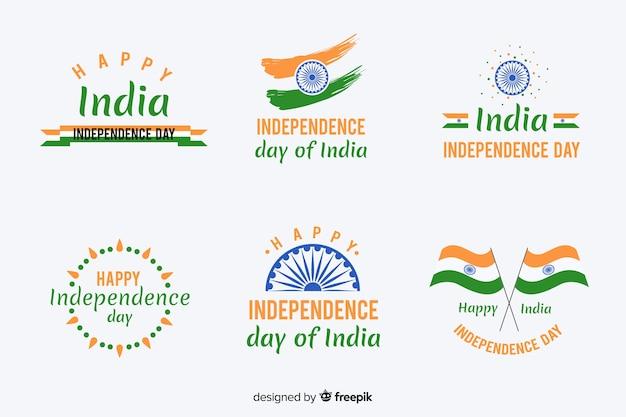 Flache indien unabhängigkeitstag abzeichensammlung Kostenlosen Vektoren
