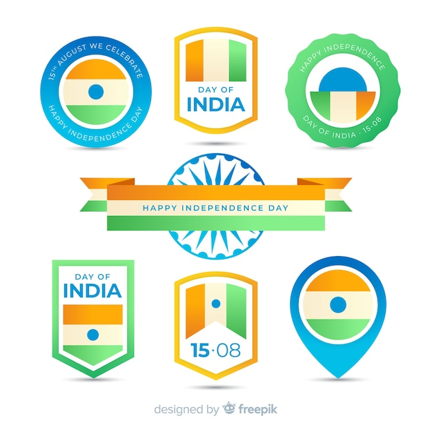 Flache indien unabhängigkeitstag label kollektion Kostenlosen Vektoren