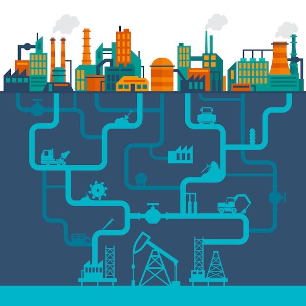 Flache industrie illustration Kostenlosen Vektoren