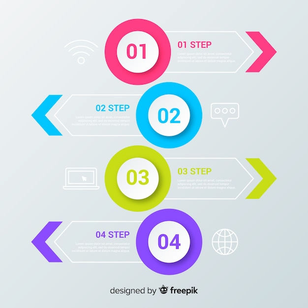 Flache infografik-schritte Kostenlosen Vektoren
