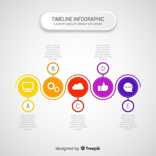 Flache infografiken der zeitleiste Kostenlosen Vektoren
