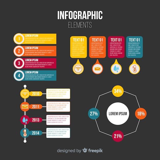 Flache infografiken elementsammlung Kostenlosen Vektoren