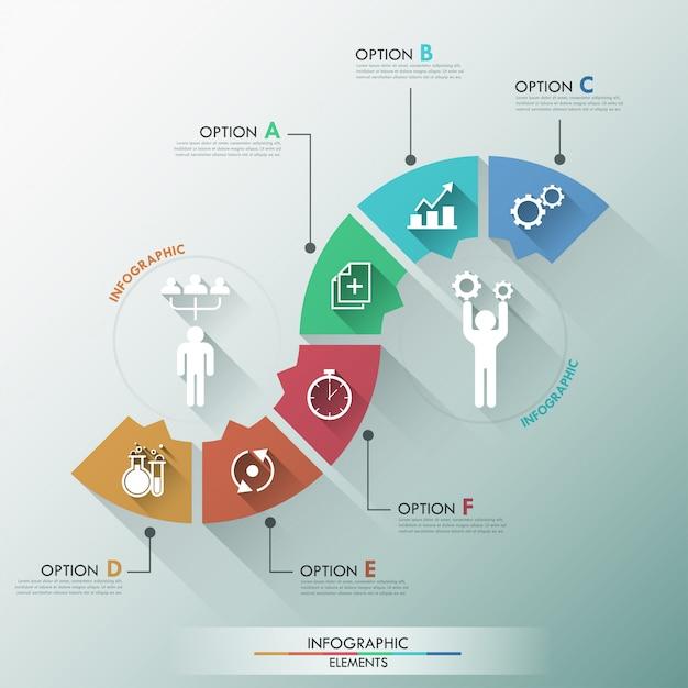 Flache infografiken optionen banner mit prozessvorlage Premium Vektoren