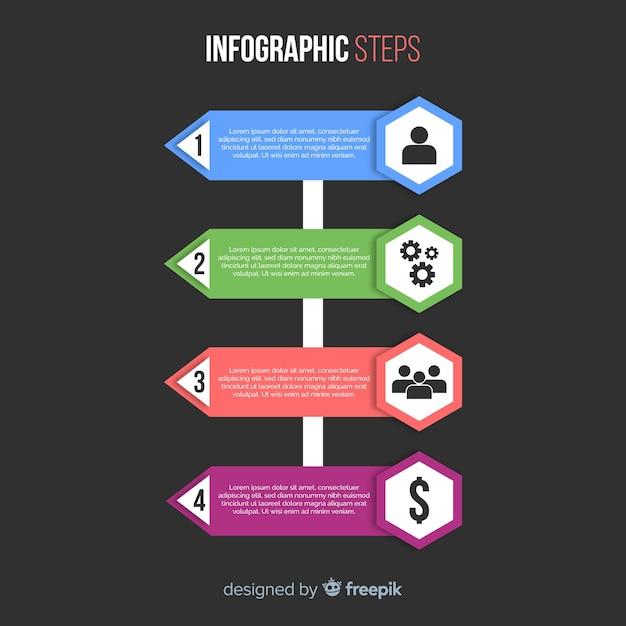 Flache infografiken schritt sammlung Kostenlosen Vektoren