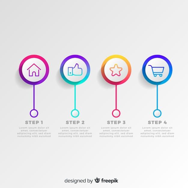 Flache infographic schritte steigungskreisschablone Kostenlosen Vektoren