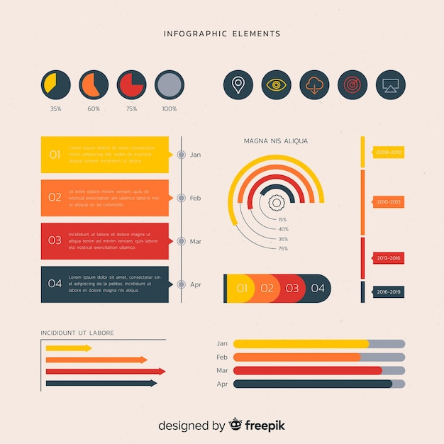 Flache infographik elemente Kostenlosen Vektoren