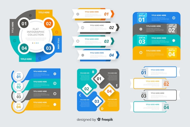 Flache infographik elementsatz Kostenlosen Vektoren