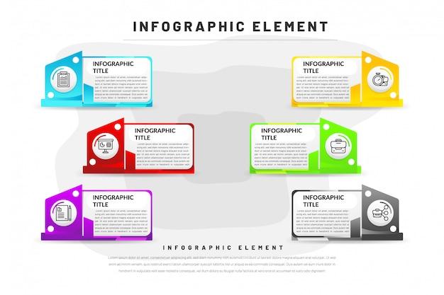 Flache infographik vorlage für business, website, präsentation mit symbol Premium Vektoren