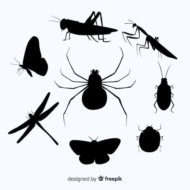 Flache insekt silhouette kollektion Kostenlosen Vektoren