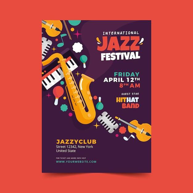 Flache internationale jazz day flyer vorlage Kostenlosen Vektoren