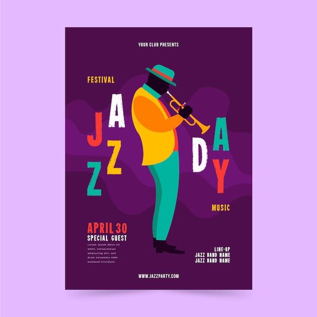 Flache internationale jazz-tagesplakatschablone Kostenlosen Vektoren