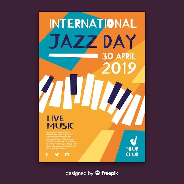 Flache internationale jazztagsplakatschablone Kostenlosen Vektoren