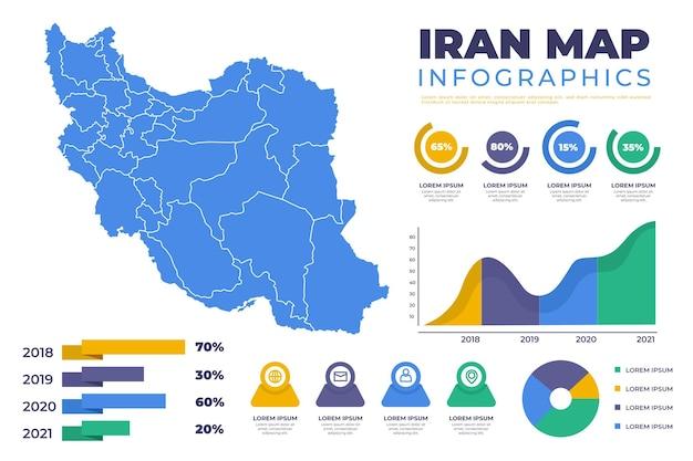 Flache iranische karteninfografiken Kostenlosen Vektoren