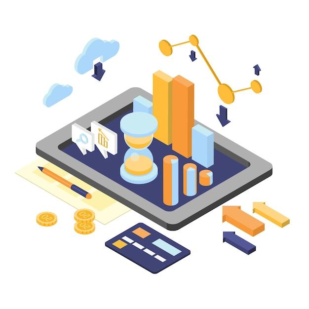 Flache isometrische analytikelemente der finanzierung 3d Premium Vektoren