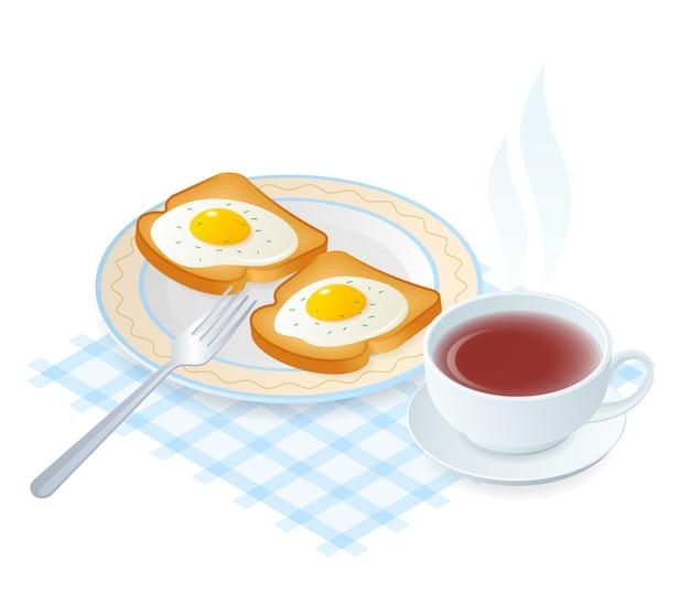 Flache isometrische illustration des tellers mit eiern auf toast. Premium Vektoren