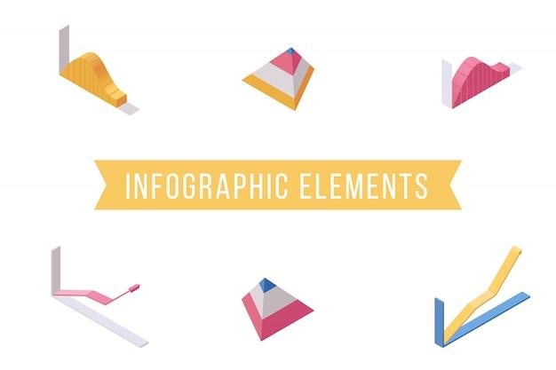 Flache isometrische illustrationen der infographic-elemente eingestellt Premium Vektoren