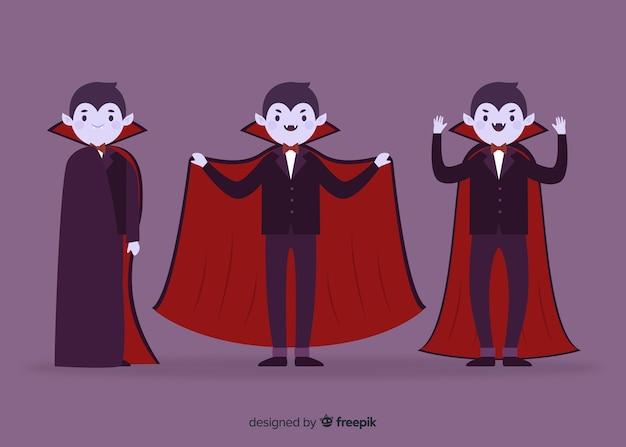 Flache junge erwachsene charaktersammlung des vampirs Kostenlosen Vektoren