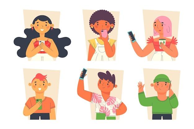 Flache junge leute, die smartphonesammlung verwenden Premium Vektoren