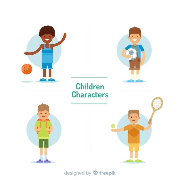 Flache Jungensammlung der Kinder Tages Kostenlose Vektoren