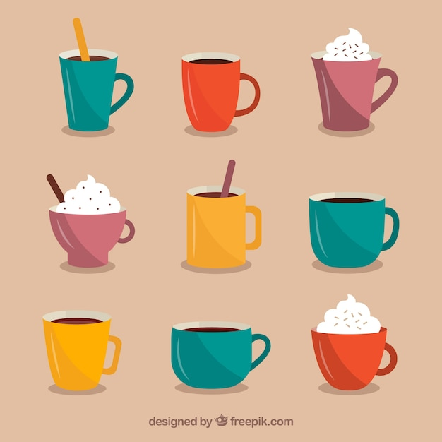Flache kaffeetassesammlung Kostenlosen Vektoren