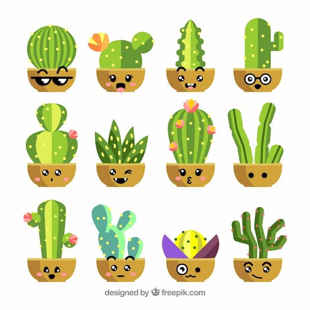 Flache kaktus-sammlung Kostenlosen Vektoren