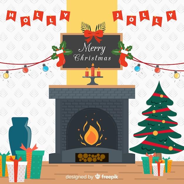 Flache kamin weihnachten hintergrund Kostenlosen Vektoren