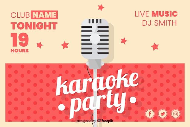Flache karaoke party banner vorlage Kostenlosen Vektoren