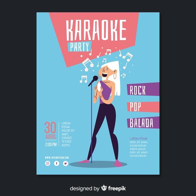 Flache karaoke party plakat vorlage Kostenlosen Vektoren