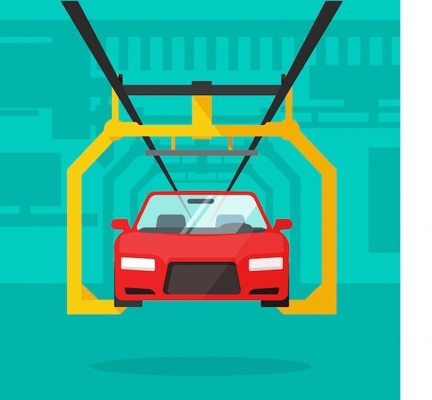 Flache karikatur der autofertigungsstraße oder des automobilherstellungsförderers Premium Vektoren