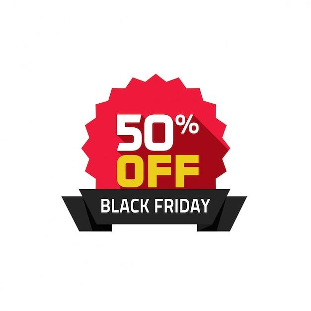 Flache karikatur des black friday-verkaufsaufkleber-vektors Premium Vektoren
